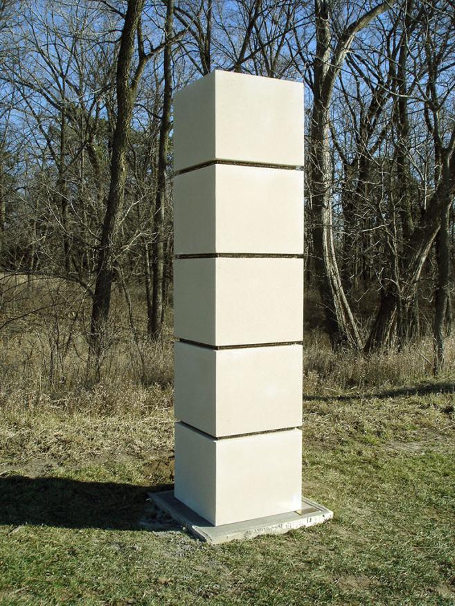 Stress, 2004 / Concrete and cast bronze / 250 x 60 x 60 cm / At Lincoln, Nebraska, USA