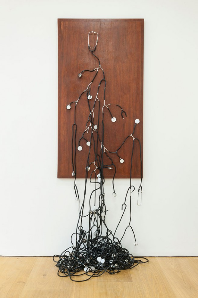 Consensus (collective feeling), 2012-2013 / Stethoscopes and nickel-plated copper devices on wooden base / 159 x 86 x 17 cm