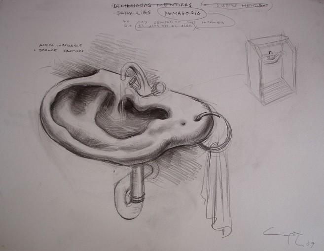 Demagogia, 2009 / Mixta sobre cartulina / 50 x 65 cm