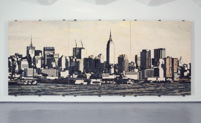 American Appeal (postcard), 2008 / Oil, fish-hooks and nails on panel of linen and plywood / 270 x 155 x 10 cm