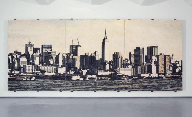 American Appeal (postcard), 2008 / Óleo, anzuelos y puntillas/Panel de lino y plywood / 270 x 155 x 10 cm