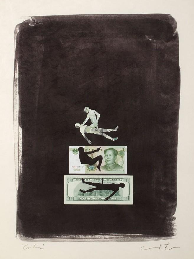 Coitus (Dollar and Yuan), 2010 / Mixta sobre cartulina / 75,5 x 59 cm