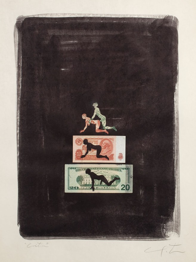 Coitus (dollar and ruble), 2010 / Mixta sobre cartulina / 75,5 x 59 cm
