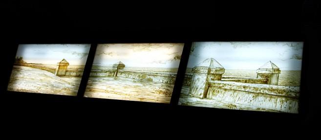 Trilogía Sucia de La Habana, 2012-2013 / Condones, montado entre  Plexiglas / tres caja de luz de madera / 102 X 152 x 12,7 cm c/u