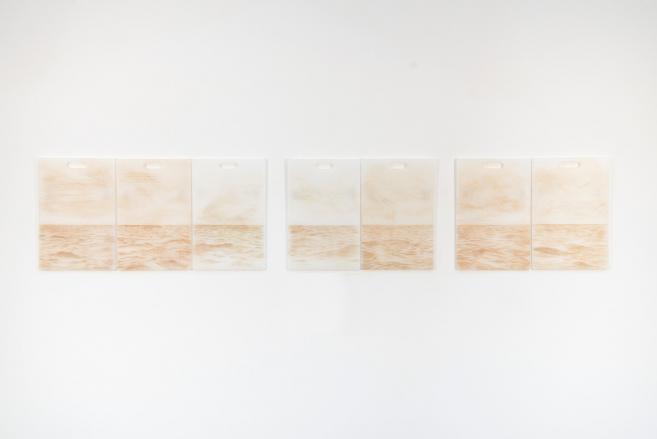 Cortes Profundos (visceral), 2015 / Incisiones en tablas plásticas de cortar y sangre / 45 x 29 cm c/u