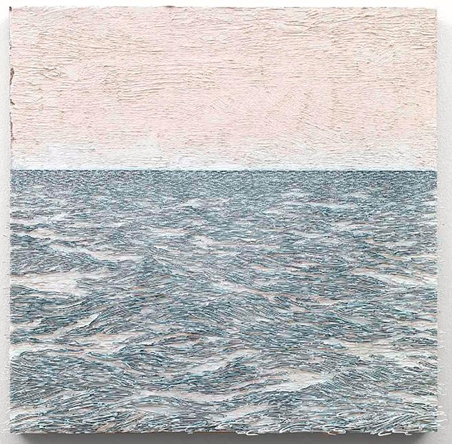 Isla (blanco sobre blanco), 2015 / Óleo, anzuelos y puntillas sobre lino y panel de plywood / 78.5 x 82 cm