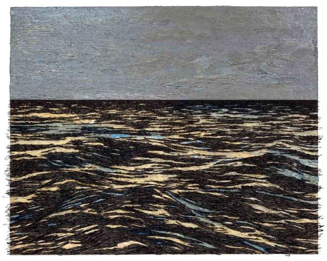 Isla (Gris), 2015 / Óleo, anzuelos y puntillas sobre lino y panel de plywood / 102 x 127 x 11 cm