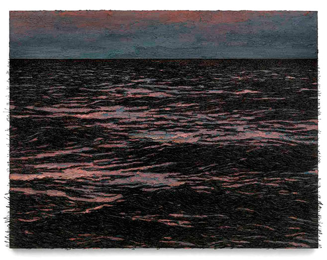 Isla (La pared de las palabras), 2012 / Oil, nails and fishhooks on linen panel on plywood / 150 x 206 x 11 cm