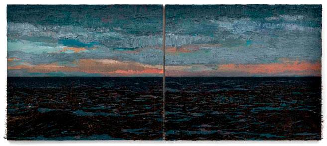 Isla (Punto de Fuga), 2015 / Óleo, anzuelos y puntillas sobre lino y panel de plywood / 2 partes, 130 x 153 x 9 cm