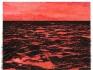 Isla (Rojo), 2014 / Óleo, anzuelos y puntillas sobre lino y panel de plywood / 96 x 125 x 7 cm