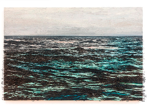 Isla (la otra orilla), 2013 / Óleo, anzuelos y puntillas sobre panel de lienzo y plywood / 104 x 154 x 8 cm
