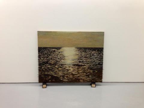 Isla (el ocaso), 2011-2012 / Óleo, anzuelos, puntillas y encáustica sobre panel de lienzo y plywood / 119,5 x 150 x 8 cm