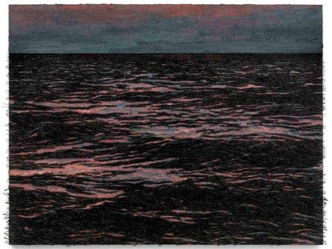 Isla (La pared de las palabras), 2012 / Óleo, anzuelos y puntillas sobre lino y panel de plywood / 150 x 206 x 11 cm