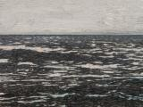 Isla (la otra orilla), 2013 / Oil, fish-hooks and nails on panel of canvas and plywood / 104 x 154 x 8 cm