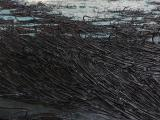 Isla (sin salida), 2013 / Oil, fish-hooks and nails on panel of canvas and plywood / 133 x 200 x 10 cm